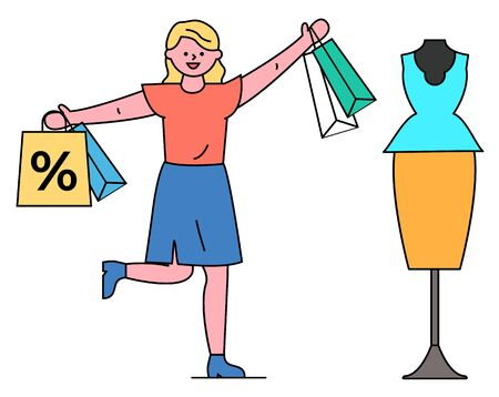 Woman in store buying clothes vector, isolated character holding bags with percent offers symbol. Lady standing by mannequin with classical clothing at display. Trendy costume in store on sale Illustration
