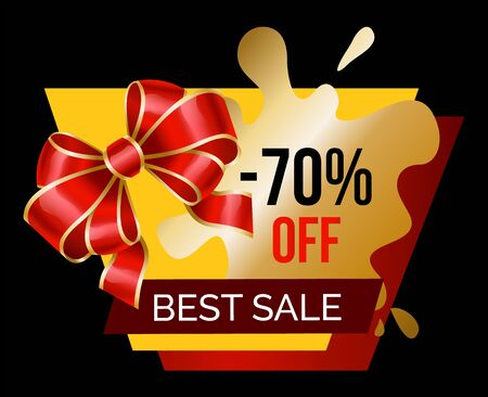 Best sale promotional banner with 70 percent sale announcement. Reduction of price with decorative ribbon bow. Blot shaped form of advertising. Proposals of stores and shops. Vector in flat style
