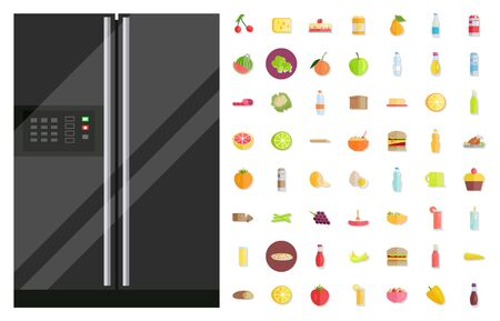Fridge with temperature controlling panel and set of food isolated icons. Cheese and diary products, food preservation. Refrigerator with broccoli and pear, cake and bread. Freezer device vector