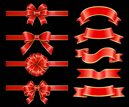 Set of banners and red ribbon bows for decoration of greeting cards and gifts boxes. Swirly stripes with copy space. Design of empty tapes for message placing. Vintage tapes isolated. Vector in flat Illusztráció