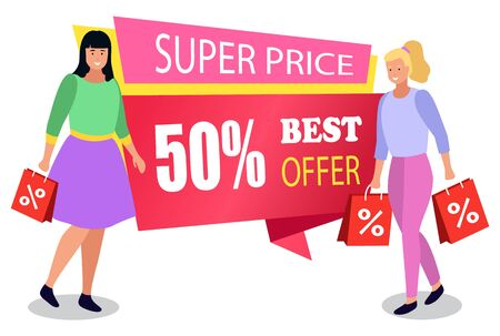 Promotional banner for store discounts announcement. Isolated female characters with bags. Customers with purchases bought on offers and special deals from market. Woman with handbags vector