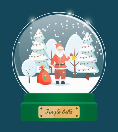 Jingle bells, snow globe toy with glass sphere. Santa Claus wearing red costume holding bell, standing by sack with gifts. Winter landscape with pine decorated with garland and baubles vector
