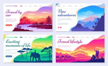 De nouvelles aventures et des moments de vie passionnants. Voyagez en voiture et voyagez comme mode de vie. Alpinisme et randonnée, équitation à dos d'éléphant en pays asiatique. Paysages paysages. Vecteur de site Web ou de page Web