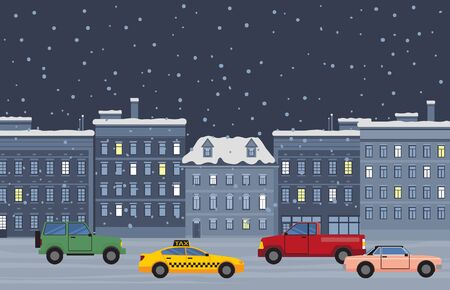 Winter city at nighttime, taxi and vehicles of citizens at street of town. Snowfall in urban area. Building in row with lit windows. Automobile on read at night. Cityscape of wintertime vector in flat