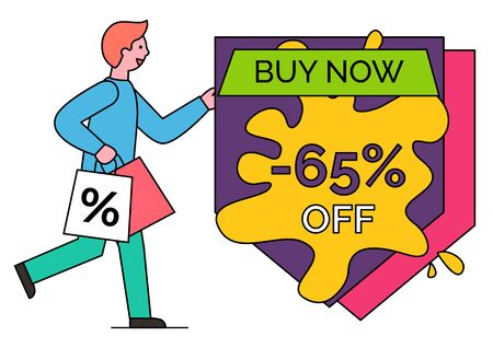 Guy hurrying on shopping with bag. Discount 65 percent off price. Man bought products on black friday. Buy now in stores, shops. Vector promotion caption, inscription on colorful label in minimalism Illustration