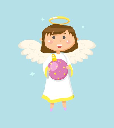 Child with wings and halo vector, angel holding bauble decoration for Christmas. Celebration of holiday, small kid wearing long dress, girl smiling