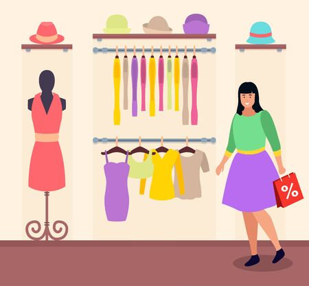 Woman in clothes shop with shopping bag, sale at department store. Garment dresses and shirt, hats and top. Lady buying apparels for wardrobe. Pink dress on mannequin. Vector illustration flat style