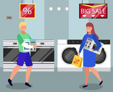 People buying washing machine, microwave oven and tablet on sale. Man carrying tablet in package and woman with electronic appliance for kitchen. Characters at store using big discounts vector