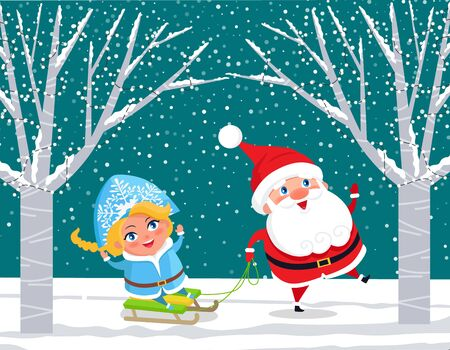 Winter forest with characters having fun. Santa Claus pulling sleds with Snow Maiden. Natural landscape with trees decorated with garlands. New Year eve and Christmas Time holidays. Vector in flat Illustration