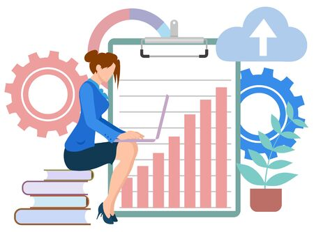 Woman surrounded by office supply vector, lady with laptop working on project flat style character. Cogwheel and clipboard with charts, plant cloud books. Business education