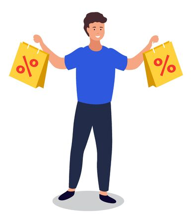 Happy male character holding paper bags with percents. Sale at store and discounts for shoppers. Customer with purchases in packages. Person using discounts and clearance of shops and market vector