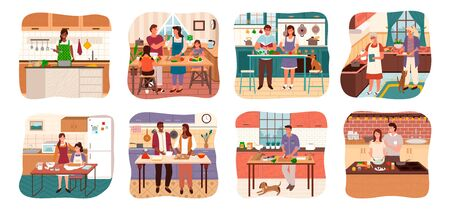 Set of characters cooking meal at home. Man and woman with children preparing food for dinner. Lady at stove alone. Grandmother with granddaughter making dishes for holiday. Vector in flat style Illustration
