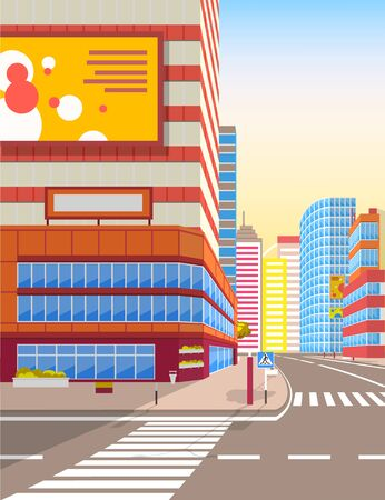 Zebra on city road vector, realistic cityscape with ad on billboards. Boards with advertisements, apartments and facade of skyscrapers empty street