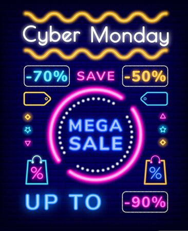 Cyber monday vector, mega sale discounts. Save up to 70 or 50 percent on production of store. Promotional banner with neon effect. Icons of pricetag and bag, font and decor flat style illustration