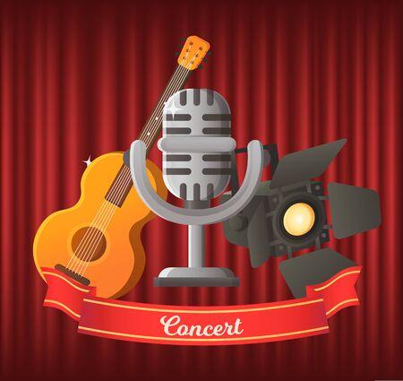 Konzertvektor, Mikrofon und Saitenmusikinstrument Gitarre. Mike im Retro-Stil, Scheinwerfer für Bühnendekoration, Party und Musikperformance Vektorgrafik