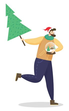 Male personage running with xmas tree in hands. Bearded man holding snow globe with winter landscape inside. Preparation for christmas and greeting with new year holidays. Vector in flat style Imagens - 134307380