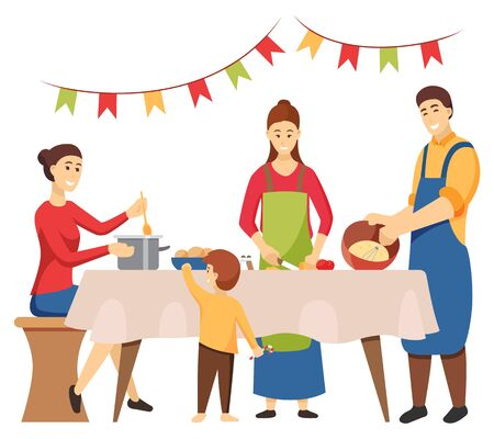 Family consisting of mother, father and children preparing dishes for Christmas holiday celebration. Isolated characters at home cooking meals for table. Kitchen decorated by flags flat style
