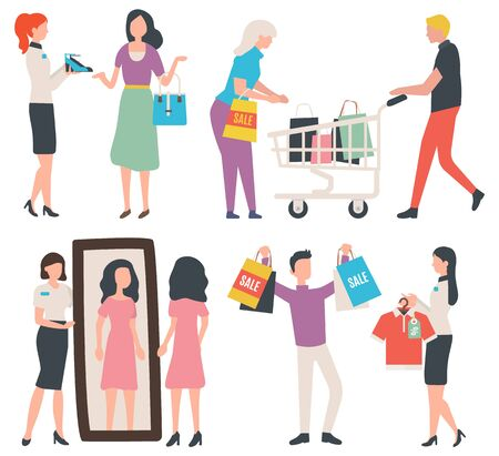 Man showing bags with purchases vector, fashionable store with consultant,. Granny shopping. Lady looking in mirror, consultation in shop flat style