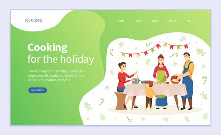 Cooking for holiday vector, christmas preparation of family. Mother and father with kids making dishes, New Year celebration. People at kitchen. Website or webpage template, landing page flat style Ilustração