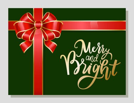 Merry Christmas greeting card with calligraphic inscription and modern font. Ribbon bow in form of flower with stripes. Present for xmas and winter holidays celebration. Certificate with tape vector Banque d'images - 134307351