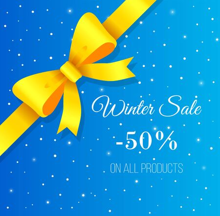 Promotional banner for winter sale. Discount 50 percent off reduction of price. Lowering of cost on item. Seasonal clearance for shoppers. Decorative ribbon bow on snowfall background vector