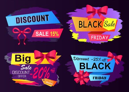 Limited time only, black Friday cyber, big sale, buy now poster. Special shopping promotion lable decorated by bow in red color. Promo font and Black friday logo on sticker. Flyer shopping advertising