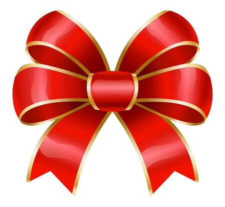 Red ribbon bow with golden borders. Isolated decorative element used in decoration of various items. Gifts presents boxes and cards decor, banners or brochure adornment. Vector in flat style