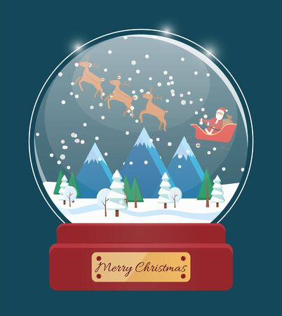 Merry Christmas snowglobe with Santa and deer. Postcard in blue color with snowflakes in glass bulb. Winter holiday card with snowy mountains and fir-tree in snow globe, Xmas traditional symbol vector Ilustracja