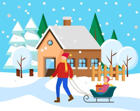 Father and kid spend time actively together in winter snowy lawn. Parent rides his child on sleigh. Girl on sled holding present box. Living building on background, house in town. Vector illustration