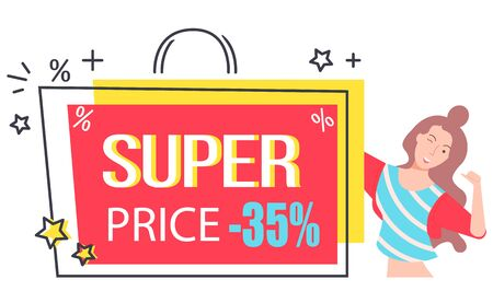Super price vector, handbag with handle and stars. Lowering of cost, shops and store reduction. Girl with happy face expression discount clearance