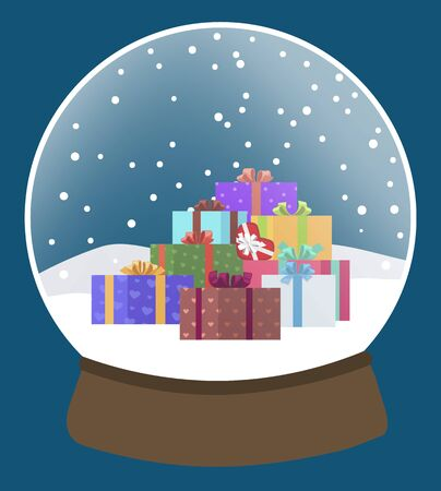 Snow globe with snowflakes and winter landscape. Xmas decoration and tradition gift on winter holidays. Snowfall in glass sphere with presents inside. Christmas and new year celebration vector Vetores