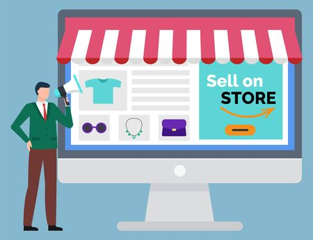 Sell on store, online shopping. Computer monitor, opened website with goods. Man stands with speaker. E-commerce and internet shopping, logistics worldwide international businesss vector illustration