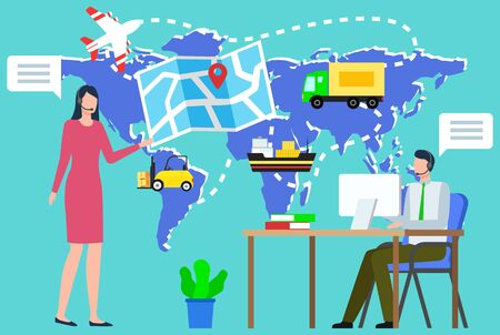 Man and woman working in logistics vector, people with map and location pointer. Flat style character monitoring orders and cargo, plane and lorry, van and ferry for transportation of products