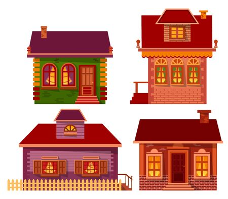 Homes of people in winter vector, isolated set of buildings. Houses designs, estate with pine tree decorated inside. Exterior of chalet with chimney and wide windows. Architecture of city of village Archivio Fotografico - 134307308