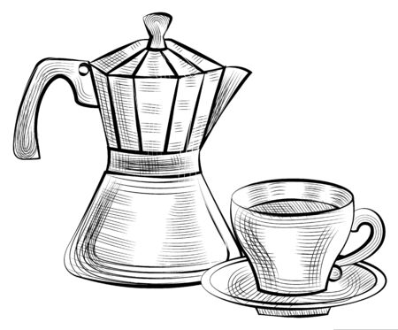 Moka pot for brewing espresso coffee and cup with saucer isolated monochrome icons. Vector steel kettle with handle and lid. Drawing objects, hot beverage Stock fotó - 134307172