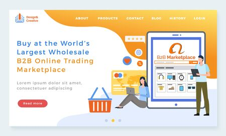 B2B online trading platform vector, business to business marketplace. Credit card in wallet, woman with laptop shopping from sites and man with tablet. Website or webpage template, page flat style