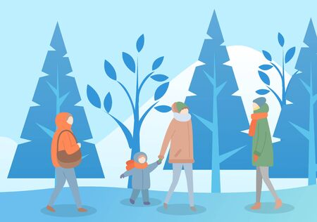 People walking in winter park vector. Woman hurrying home, lady strolling alone. Mother and kid wearing scarf passing trees covered with snow. Frozen ground of forest and clear sky flat style