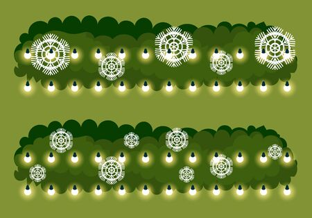 Christmas decoration vector, pine tree branches for xmas celebration preparation. Fir with glowing garlands and snowflake paper cuts. Evergreen spruce with decorative elements and ornaments flat Ilustração