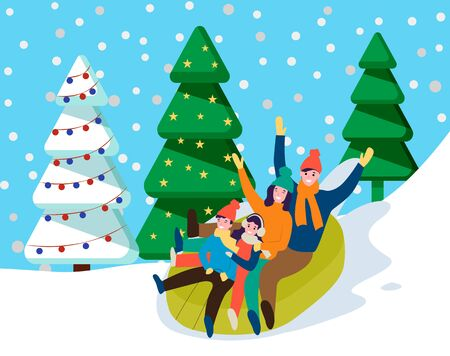 Family riding together in snowy forest. Mother, father and their children tubing downhill. Parents spend time with kids. Recreational wintertime activity that similar to sledding. Vector in flat