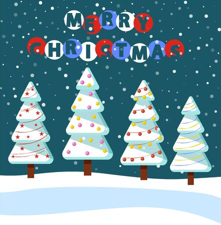 Merry christmas, greeting card with winter landscape at night. Cold season with pine trees covered with snow. Snowy hills and snowfall weather outdoors. Spruce with garlands and baubles vector Ilustração