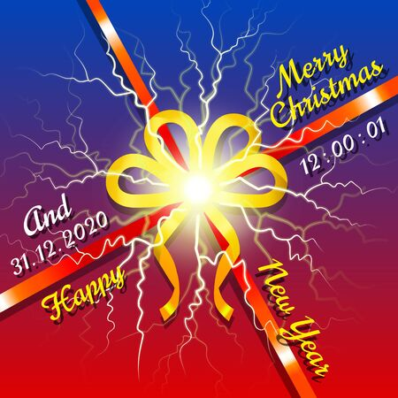 Buon Natale e Felice Anno Nuovo, didascalia sullo sfondo. Fiocco giallo e nastro rosso per incartare i regali nelle scatole. Biglietto di auguri di Natale. celebrazione delle vacanze invernali. Illustrazione vettoriale in stile piatto Vettoriali