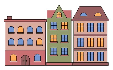 Houses in row vector, isolated buildings with windows and light in them. Suburban homes of citizens, residence with entry and roof with chimney. Constructions of brick and wood in flat style