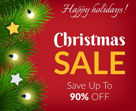 Promotional poster for Christmas and winter holidays vector. Sale save up to 90 percent off. Proposal of shops and markets. Reduction of price on products in stores. Pine tree with garlands and star