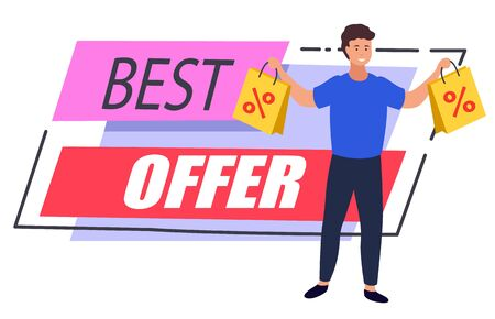 Best offer promotional banner with male character holding bought products in bags. Man shopping at store with discounts and reductions. Proposition of shop for personage. Marketing label vector