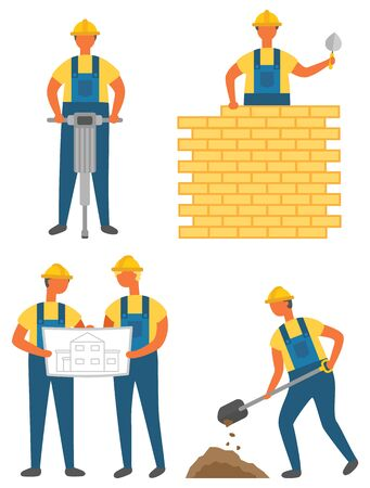 Workers and tools, building or construction works vector. Drilling ground and brick wall, house draft or scheme, digging soil, isolated characters Vectores