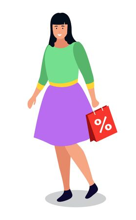 Shopping woman, isolated character with purchases. Female personage happy of sale and discounts in shop. Lady with paper bag and percent. Offers and propositions in shop and market vector in flat