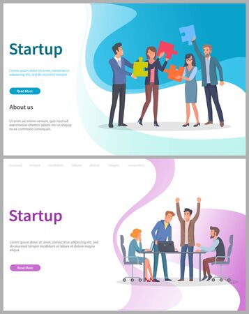 Startup successful launching of project vector, business solution, corporation. Creative people with puzzles jigsaw, conference meeting in office. Website or webpage template, landing page flat style
