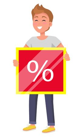 Man stand and hold promotion board. Super sale in stores and shops, big discounts. White percent sign on red tablet. Smiling person isolated on white background. Vector illustration in flat style Ilustração