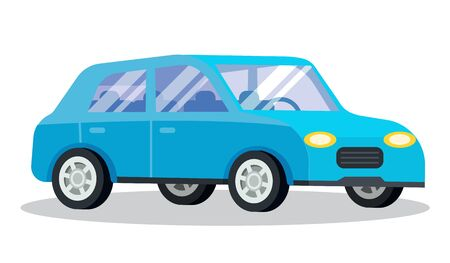 Vehicle blue transport isolated on white. Station wagon also called estate car, transportation automobile. Retro auto to drive and get your destination quickly. Vector illustration in flat style Stock Vector - 134306996
