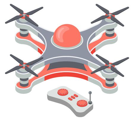 Drone with remote controller, wireless device with propellers, quadcopter symbol, aircraft with remotely controlled flying robots, discovery element, air robot for video and photo, multicopter vector